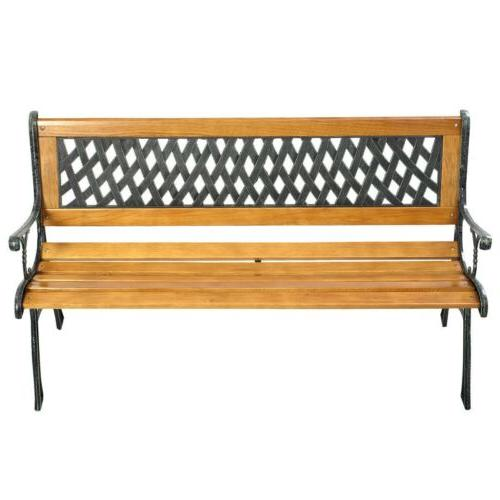 Outdoor Porch Deck Hardwood Iron Garden Bench Park