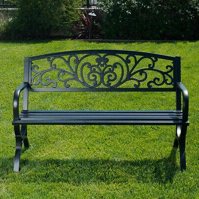 Outdoor Bench Patio Metal Garden Furniture Seat