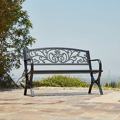 outdoor bench patio metal garden furniture deck