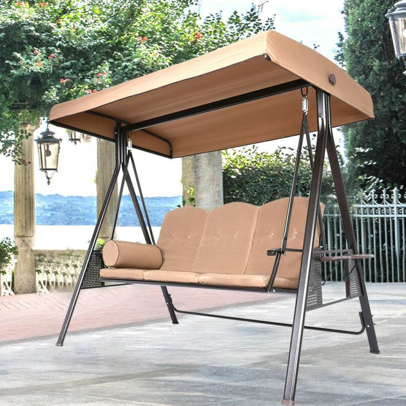 2/3 Seat Outdoor Porch Swing w/Canopy Patio Steel Furniture