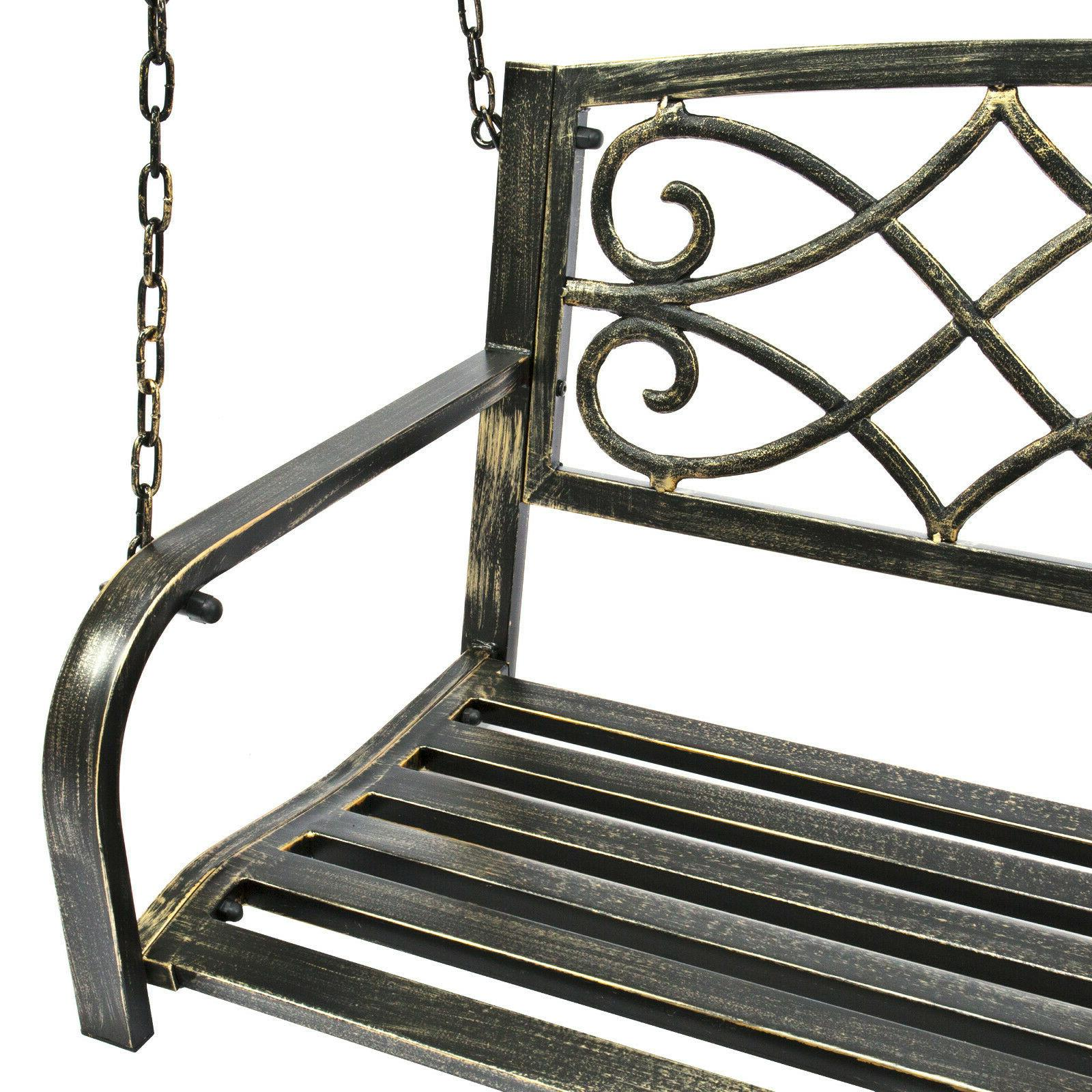 Outdoor Swing Bench Metal Fleur-De-Lis Porch Furniture