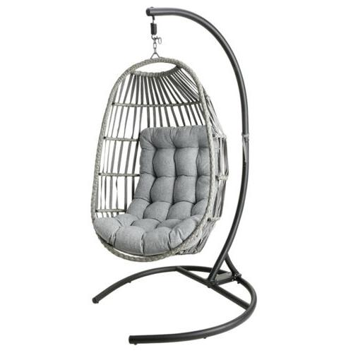 Outdoor Large Hanging Egg Swing w/ Stand Cushions