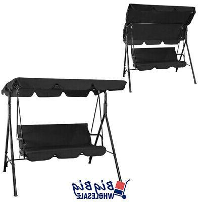 Outdoor Canopy 3-Person Seat Black