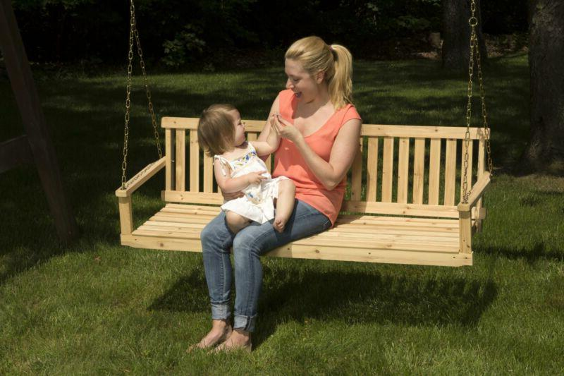 Outdoor Swing Wood Chains ft Bench Patio Furniture
