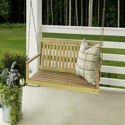 Outdoor Wood Chains 4 ft Seating Bench Patio Furniture