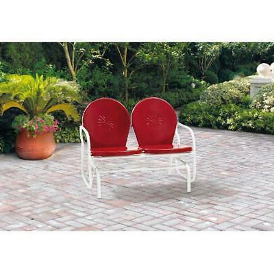 outdoor retro metal glider red seats 2