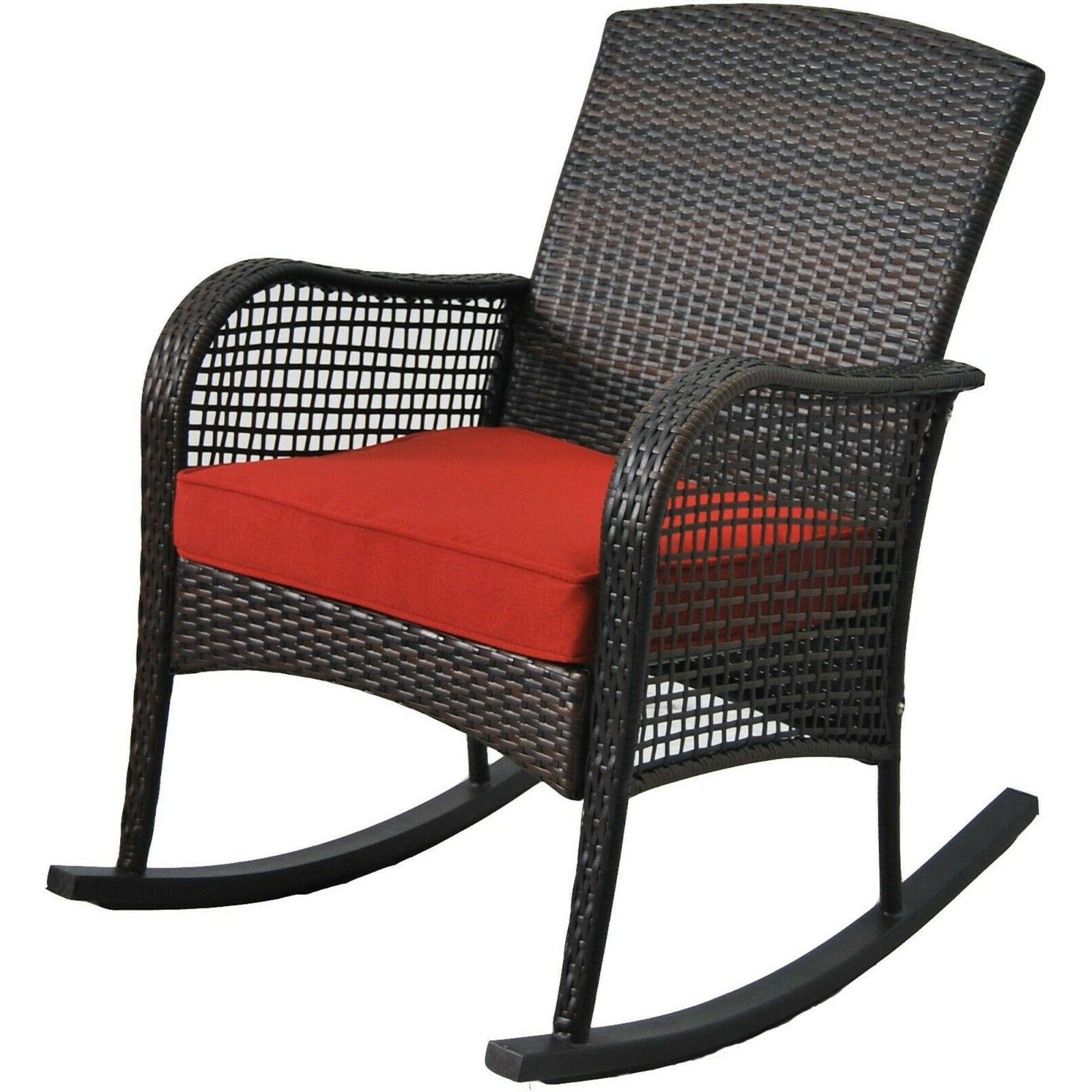 Outdoor W/ Cushion Porch Chair Rocker Home