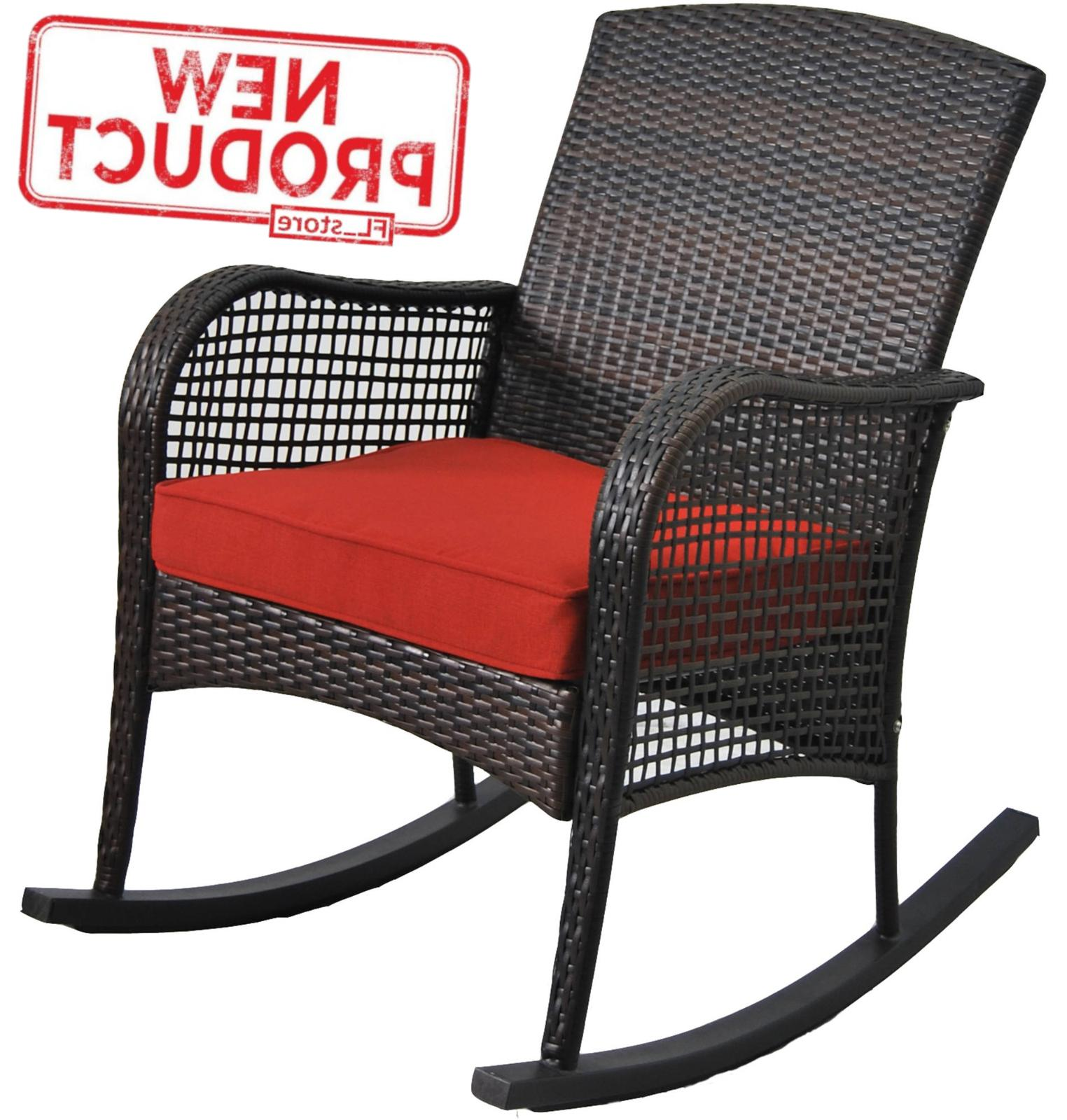 outdoor wicker rocking chair w cushion porch