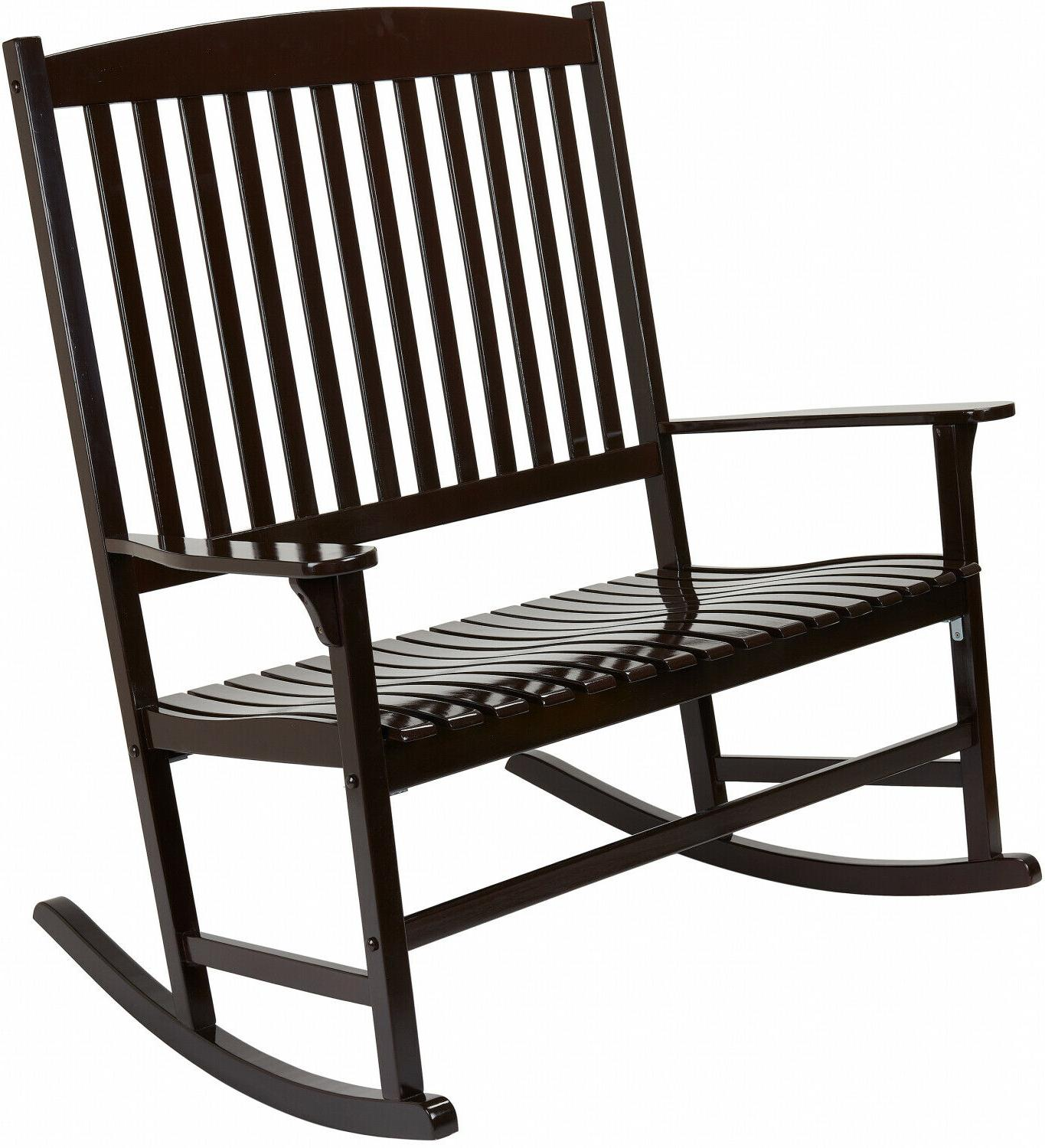 Outdoor Wood 2-Person Rocking Chair Patio Porch Deck Classic