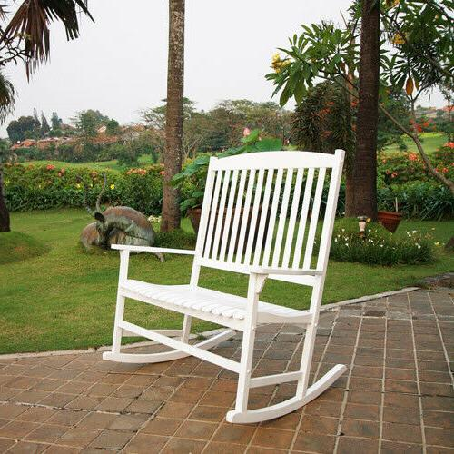 outdoor wood 2 person double rocking chair