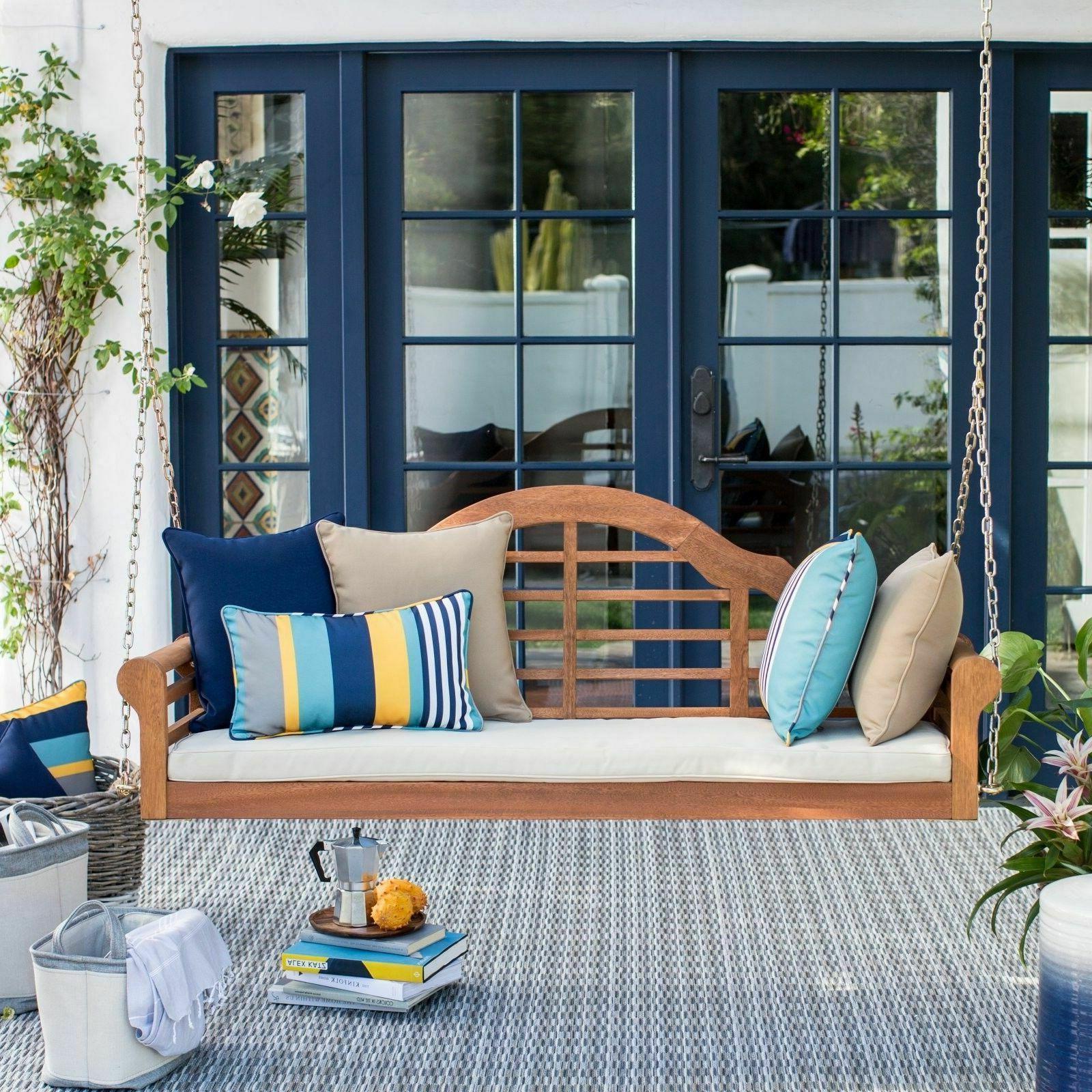 Outdoor Wooden Porch Swing Bed Eucalyptus Deep Seating Cushi