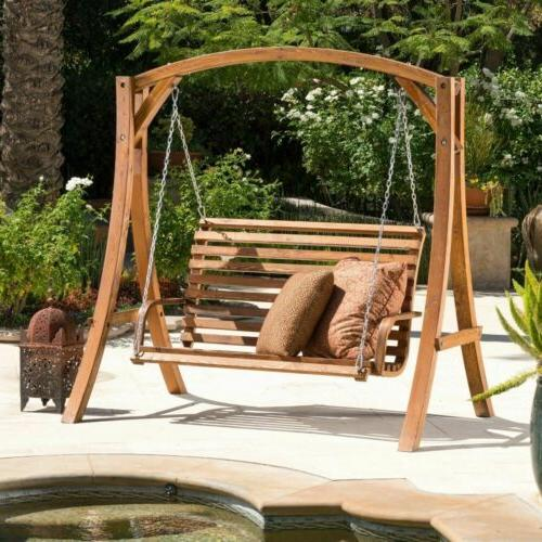 patio furniture stained wood swinging