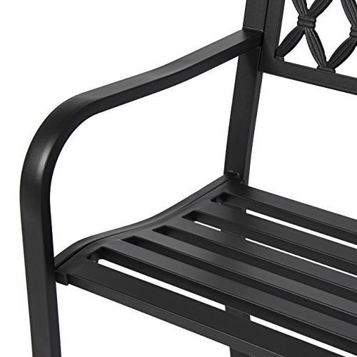 Best Choice Products 50in Steel Outdoor Patio Garden Park Porch Chair Yard Furniture - Black