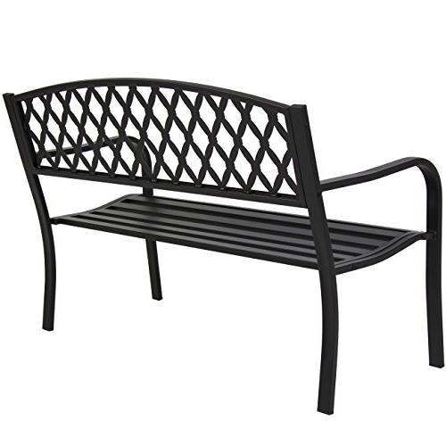 Best Products Steel Outdoor Park Bench Porch Chair Yard w/Cross Design - Black
