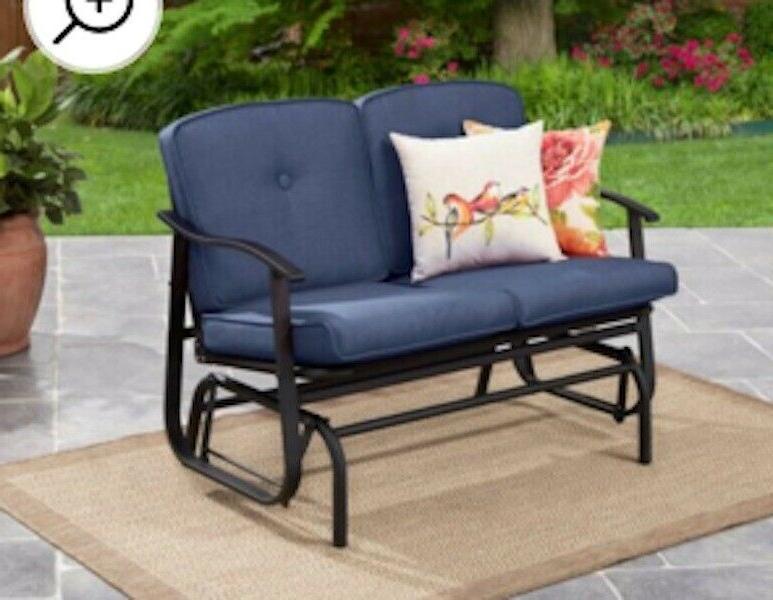 patio glider loveseat outdoor blue bench