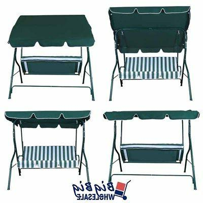 Patio Porch Swing Canopy Outdoor Lounge 3-Person Seat Hang Bench
