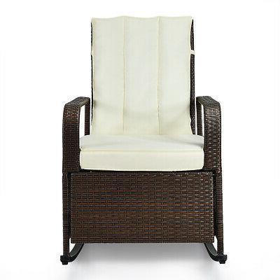 Patio Wicker Rocking Chair Auto Adjustable Recliner Porch Ga
