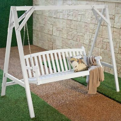 Coral Coast Pleasant Bay All-Weather Back Acacia Wood Swing - Paint