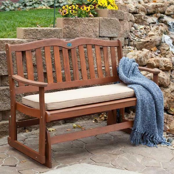 porch rustic bench wood loveseat glider outdoor