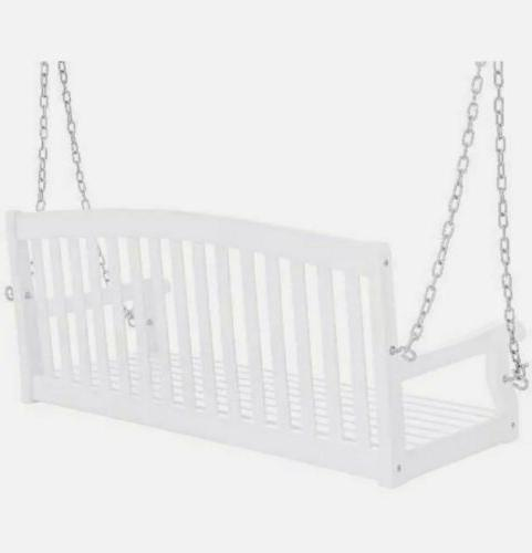 Porch Swing Wooden Hanging Patio Bench Metal Chains White