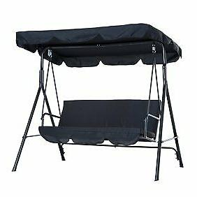 Porch Swing Padded Outdoor Top Canopy Black