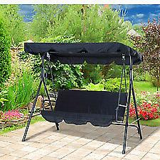 Porch Swing Chair Steel Padded Outdoor W/ Canopy