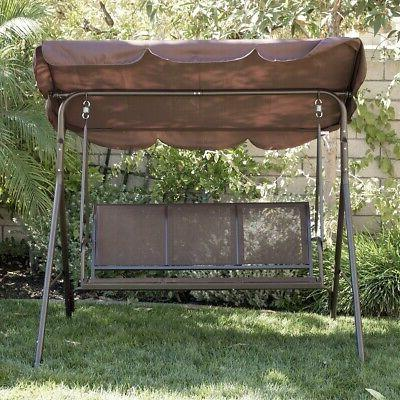 Porch Chair 3 Seater Sunshade Brown