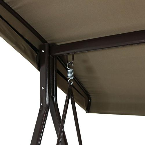 Sunnydaze 3-Person Patio Swing Bench Adjustable Tilt Metal Pillow