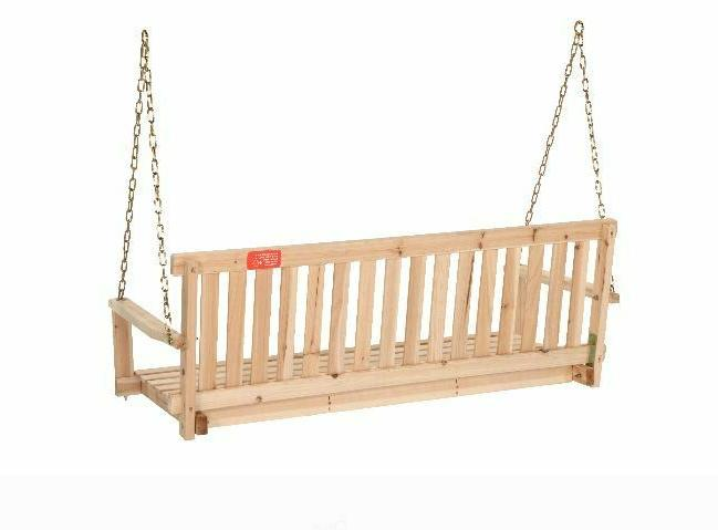PORCH SWING Outdoor Wooden Hanging 4 Wide with Chains Capacity