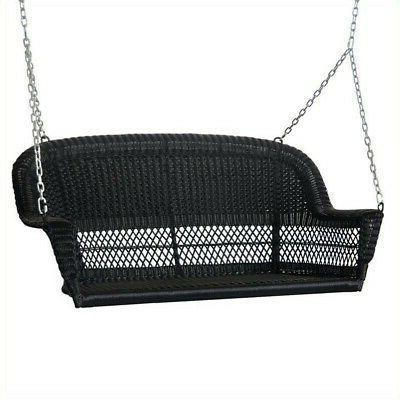 resin wicker porch swing in black