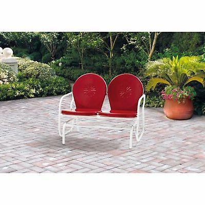 Retro Metal Glider Seating Outdoor Furniture Patio Red Seats 2
