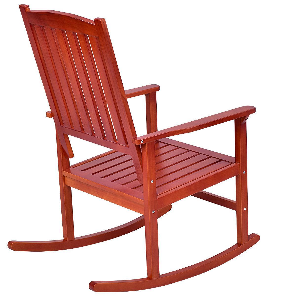 Set of Wood Rocking Chair Porch Indoor Deck Furniture