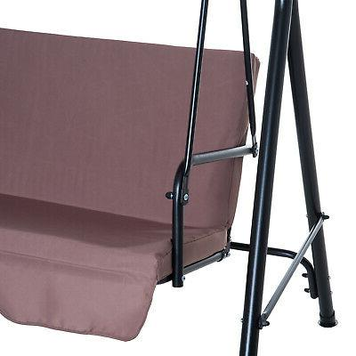 Outsunny Steel Swing Chair Person with Top - Brown