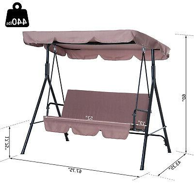 Outsunny Garden Swing Bench Person Top - Brown