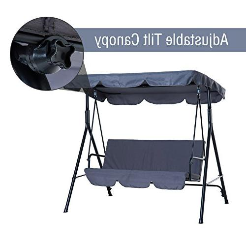 Outsunny Steel Swing Lounge Chair 3 Person with Top -