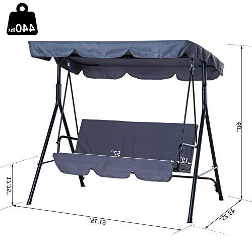 Outsunny Swing Lounge Chair 3 Person Top Canopy - Grey