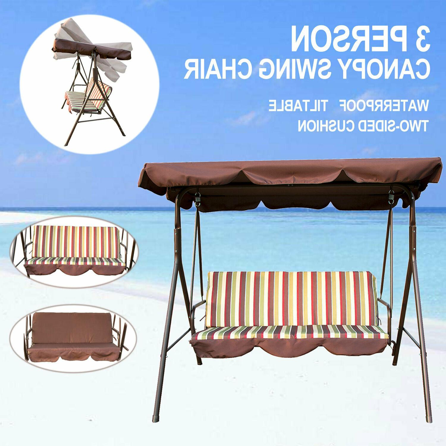 swing canopy outdoor 3 person lounge chair