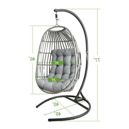 Outdoor Size Hanging Egg w/ Stand Porch Cushions