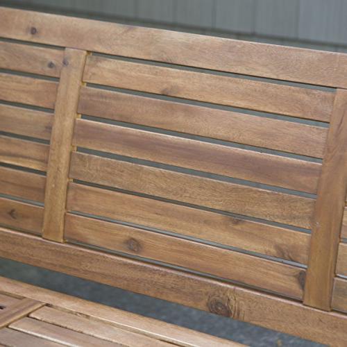 Swing, Porch Swing, Swing, 5 Horizontal Slat Acacia Wood Natural Finish