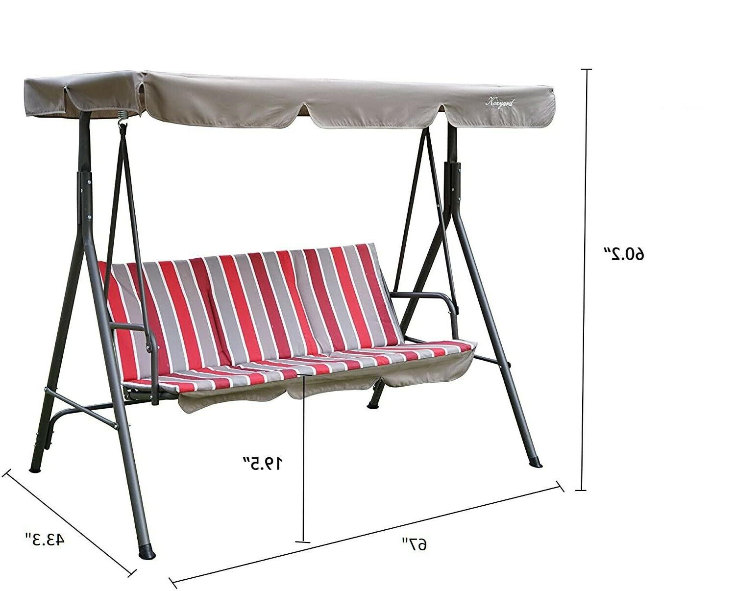 Swing With Cushion Steel 3 Adjustable Porch Patio
