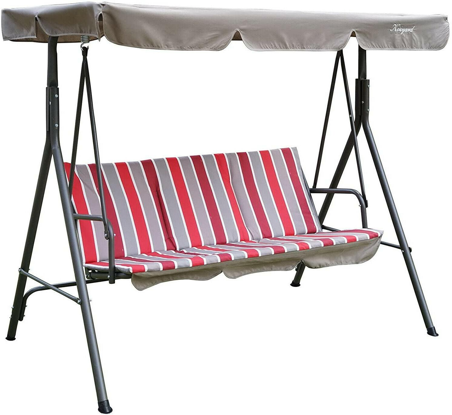 Swing Canopy Red Cushion 3 Patio