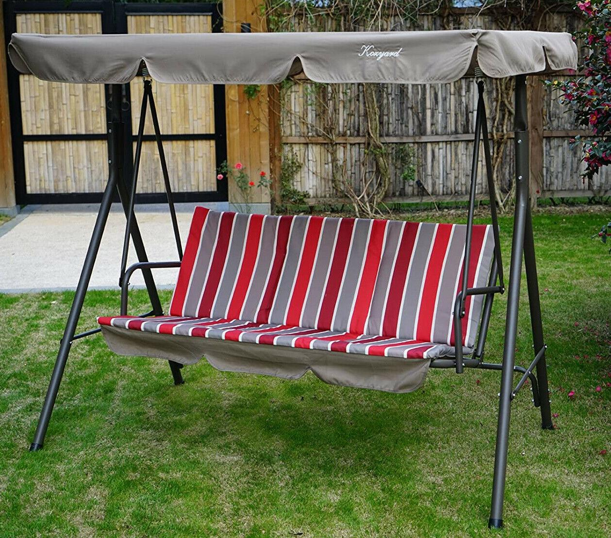 swing with canopy red cushion stand steel