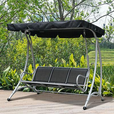three person steel outdoor porch swing chair