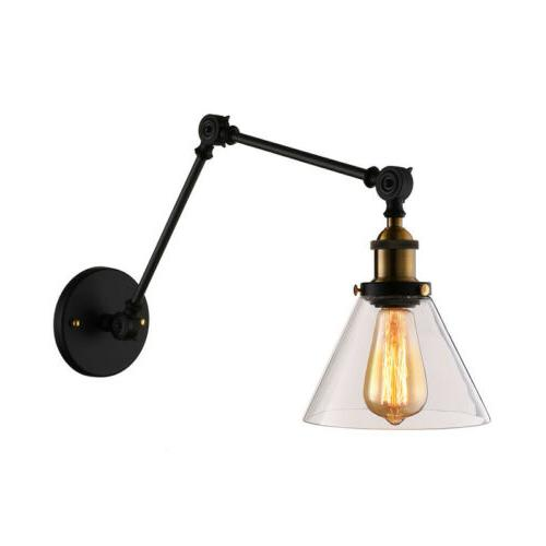 Vintage Swing Arm Glass Wall Lamp Lighting