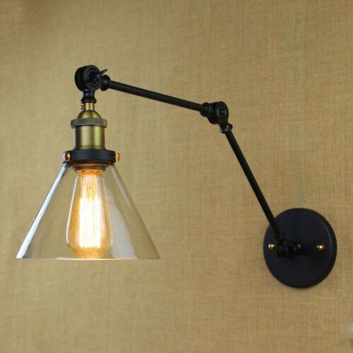 Vintage Industrial Arm Glass Sconce Wall Lamp Lighting Fixture