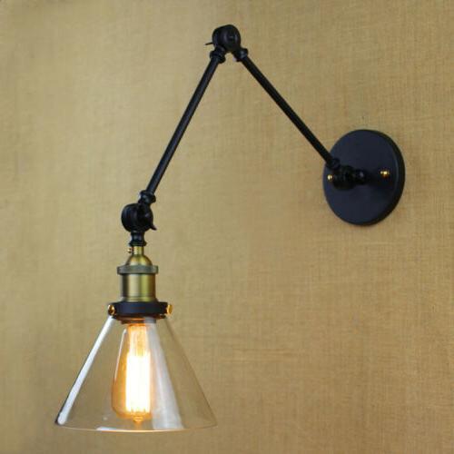 Vintage Swing Glass Wall Sconce Lamp Loft Lighting