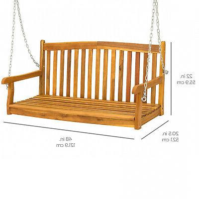 Weather-Resistant Acacia Wood Porch Swing W/Hanging