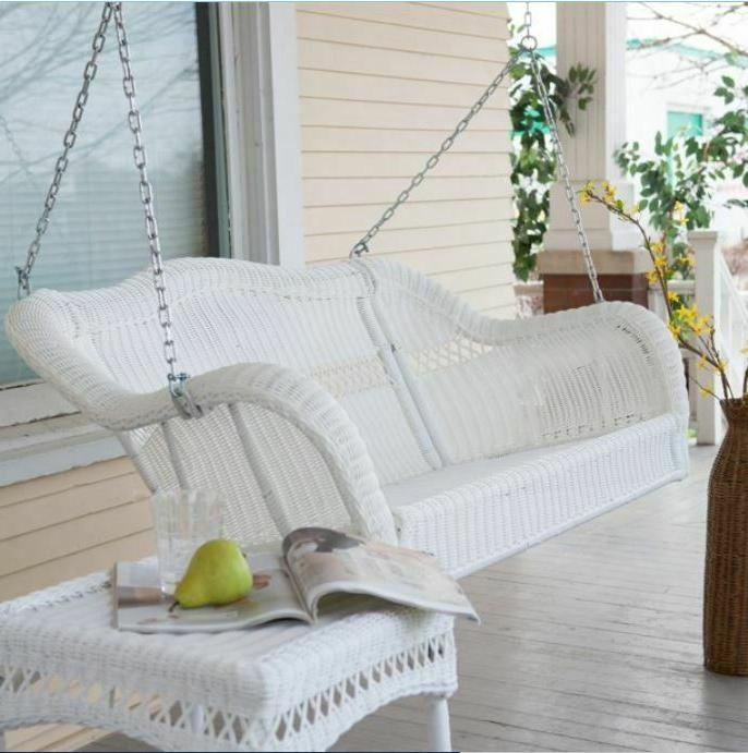 wicker porch swing w hanging chain contemporary