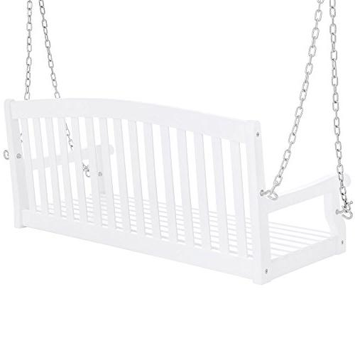 Best 48in Wooden Back Porch Swing Bench Chains for Garden White