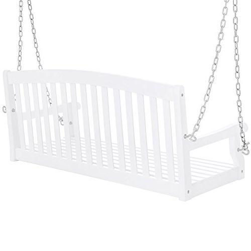 Best 48in Wooden Back Porch Swing Bench Chains for Garden White